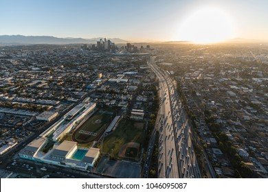 Los Angeles, California, USA - February 20, 2018:  Early morning aerial view of Santa Monica 10 Freeway and West Adams district near downtown LA.