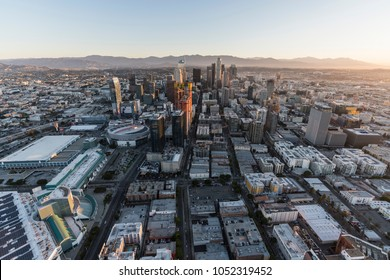 Los Angeles, California, USA - February 20, 2018:  Aerial morning view north up Flower Street in downtown LA.