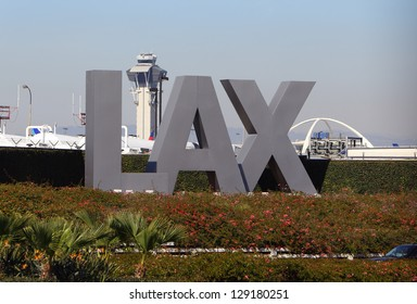 LOS ANGELES, CALIFORNIA, USA - FEBRUARY 22:The large LAX sign on Sepulveda Boulevard on February 22, 2013. Los Angeles International Airport is the 6th busiest in the world.