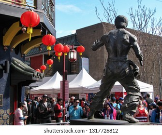Los Angeles, California USA - February 17, 2019: Bruce Lee statue memorial in Chinatown Main Plaza, downtown, Los Angeles