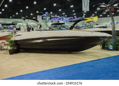 Los Angeles, California, USA - February 19, 2015 - Sea Ray boat on display at the Progressive Los Angeles Boat Show in L.A. Convention Center.