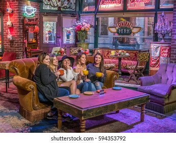 Los Angeles, California, USA, February 26, 2017: Warner Bros TV Comedy Friends at The Central Perk cafe on Lafayette street, fans