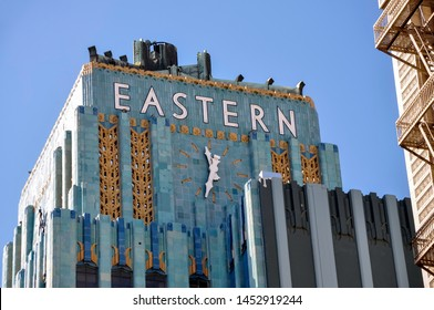 Los Angeles, California, USA - Jan. 31, 2011:  Awash in blues and golds, the iconic Eastern Columbia Building in downtown LA is a beautiful example of Art Deco architectural style.