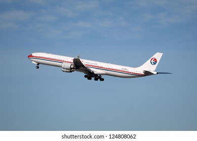 LOS ANGELES, CALIFORNIA, USA - JANUARY 15, 2013 - A China Eastern Airbus A340 takes off at Los Angeles Airport on January 15, 2013.  It carries up to 552 passengers with a range of 8900 miles.