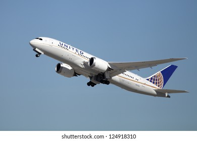LOS ANGELES, CALIFORNIA, USA - JANUARY 15, 2013 - United Airlines Boeing 787 Dreamliner takes off at Los Angeles Airport on January 15, 2013. The plane is the first to be built of composite materials.