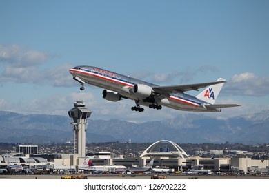 LOS ANGELES, CALIFORNIA, USA - JANUARY 28:- American Airlines Boeing 777-223 takes off from  Los Angeles Airport on January 28, 2013. It has the most powerful jet engines in commercial service