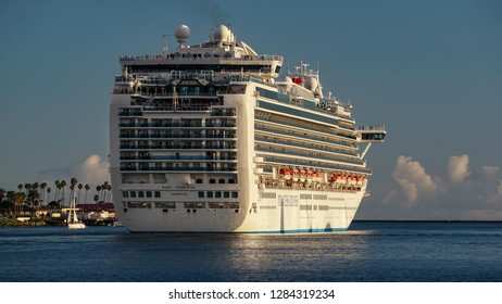 Los Angeles, California USA - January 12, 2019: Ruby Princess cruise ship leaving the the Port of Los Angeles, en route to open ocean and a vacation voyage