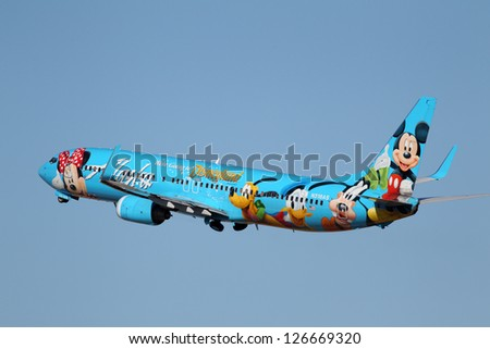 LOS ANGELES, CALIFORNIA, USA - JANUARY 28: An Alaska Airlines Spirit of Disneyland 737-400 takes off from Los Angeles Airport on January 28, 2013. It has a range of 2,370 miles and 144 seats.