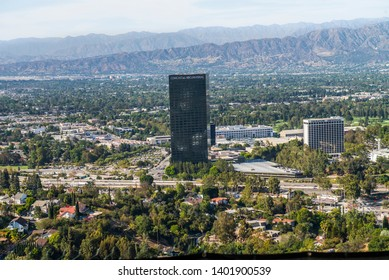 Los Angeles, California/ USA: Jul 12 2014>>a view of the universal NBC comcast building and the universal sheraton building