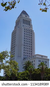 Los Angeles, California USA - July 14, 2018: Los Angeles City Hall Building tower, built 1928, 32 stories, seat of municipal government, mayor's and city council offices, civic center