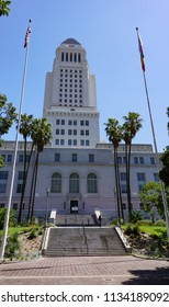 Los Angeles, California USA - July 14, 2018: Los Angeles City Hall Building, southwest entrance, 32 floors, contains municipal government and mayor and council offices, Spring Street