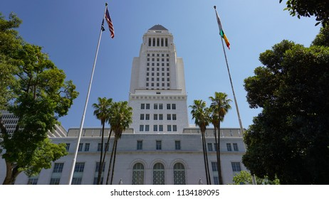 Los Angeles, California USA - July 14, 2018: Los Angeles City Hall Building, southwest entrance, contains municipal government, council and mayor's offices, 454 feet high