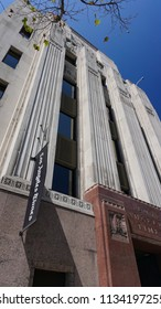 Los Angeles, California USA - July 14, 2018: Los Angeles Times newspaper offices entrance on First Street with vertical Art Deco limestone ribs and sculpture