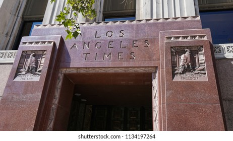 Los Angeles, California USA - July 14, 2018: Granite entrance portal around First Street doors of the Los Angeles Times newspaper building, 1935