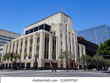 Los Angeles, California USA - July 14, 2018: Los Angeles Times newspaper headquarters in downtown - Art Deco architecture, opened 1935 at corner of 1st and Spring Streets, designed by Gordon Kauffman