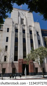 Los Angeles, California USA - July 14, 2018: First Street view of northeast facade of Los Angeles Times newspaper building with Art Deco limestone details and sculpture