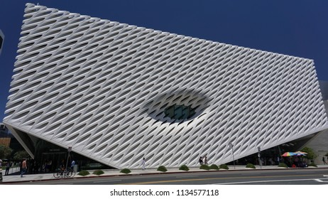 Los Angeles, California USA - July 14, 2018: The Broad museum houses the extensive modern and contemporary art collection of Eli Broad behind the white perforated facade on Grand Avenue in downtown.