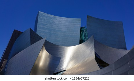 Los Angeles, California USA - July 14, 2018: Walt Disney Concert Hall, Frank Gehry design, upper portion above main entrance, curving stainless steel exterior panels, landmark modern architecture