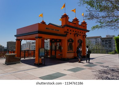 Los Angeles, California USA - July 14, 2018: Historic Angels Flight cable car ticket station on Bunker Hill in downtown at the top of ride. Built in 1901, still operating. As seen La La Land movie