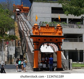 Los Angeles, California USA - July 14, 2018: Historic Angels Flight funicular cable car in downtown viewed from Hill Street. Built in 1901, still operating. Featured in the movie La La Land.