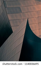 Los Angeles, California, USA, July 18, 2018: Architectural abstract of the Walt Disney Concert Hall, home of the LA Philharmonic, designed by Architect Frank Gehry