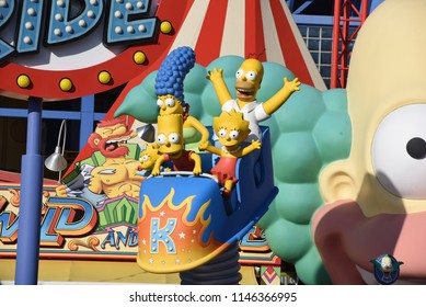 Los Angeles, California, USA -July 30, 2018: Simpsons Ride at Krustyland at Universal Studios of Hollywood,  Los Angeles, CA