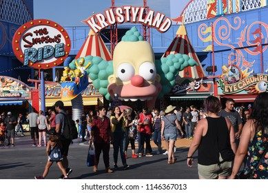 Los Angeles, California, USA -July 30, 2018: Simpsons Ride at Krustyland at Universal Studios of Hollywood,  Los Angeles, CA