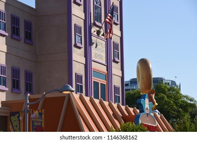 Los Angeles, California, USA -July 30, 2018: Detail from Springfield of Simpsons Ride at Universal Studios of Hollywood,  Los Angeles, CA