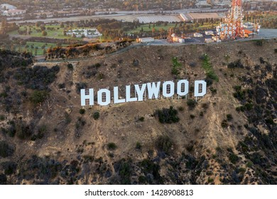 Los Angeles, California, USA - July 21, 2016:  Afternoon aerial view of the famous Hollywood Sign in Griffith Park.