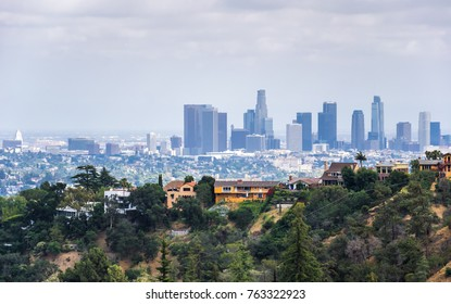 Los Angeles, California / USA - July 03 2017: Downtown of Los Angeles, aerial view