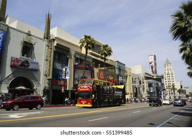 LOS ANGELES, CALIFORNIA, USA - JUN 01, 2015 - view of hollywood boulevard, downtown of los angeles