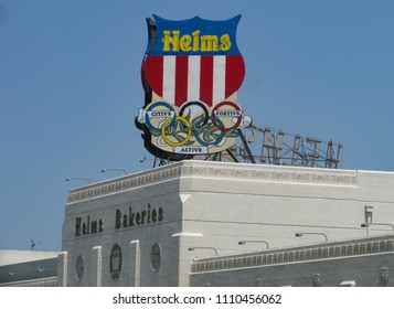 Los Angeles, California USA - June 7, 2018: sign atop the Helms Bakeries building seen from Venice Blvd. in Culver City