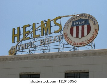 Los Angeles, California USA - June 7, 2018: Rooftop sign for Helms Bakeries building in Culver city indicating the company's sponsorship of the 1932 Olympics