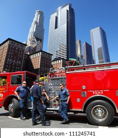 LOS ANGELES, CALIFORNIA, USA - JUNE 10, 2012: Unidentified Los Angeles firefighters wait for a new assignment in LA downtown on June 10, 2012 in Los Angeles, California