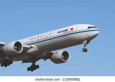 LOS ANGELES, CALIFORNIA, USA - JUNE 21, 2015:  Air China Boeing 777 shown approaching LAX for landing.