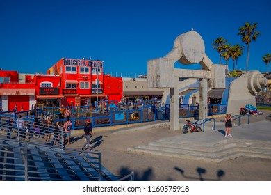 Los Angeles, California, USA, JUNE, 15, 2018: Muscle Beach gym on Venice Beach, muscle Beach is a landmark, outdoor gym dating back to the 1930's where celebrities and famous bodybuilders trained