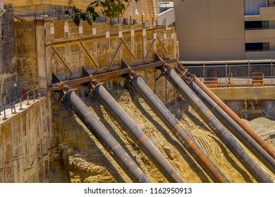 Los Angeles, California, USA, JUNE, 15, 2018: Subterranean construction undergoing for a new construction and steel bracing supporting retaining walls on top