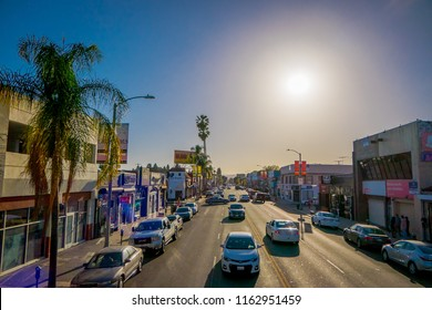 Los Angeles, California, USA, JUNE, 15, 2018: Outdoor view of cars in the traffic street in Santa monica avenue in a gorgeous sunny day and blue sky