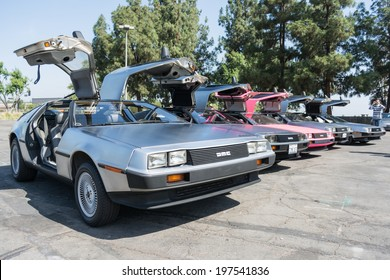 LOS ANGELES, CALIFORNIA - USA - JUNE 8, 2014:  DMC De Lorean  on exhibition at the annual event Supercar Sunday on June 8, 2014 in Los Angeles, USA.