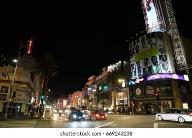 Los Angeles, California, USA - JUNE 24, 2017: Saturday night on Hollywood Blvd with lot of bars and lot of people partying.
