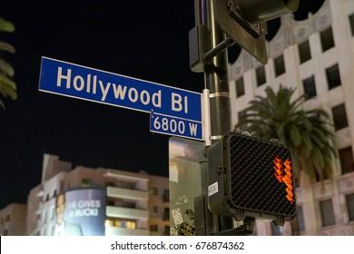 Los Angeles, California, USA - JUNE 24, 2017: Hollywood blvd street sign at night on Hollywood Boulevard