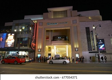 Los Angeles, California, USA - JUNE 24, 2017: Dolby Theatre at night on Hollywood Boulevard and Highland Avenue