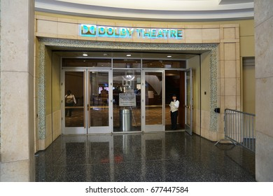Los Angeles, California, USA - JUNE 25, 2017: Dolby Theatre entrance on Hollywood Boulevard