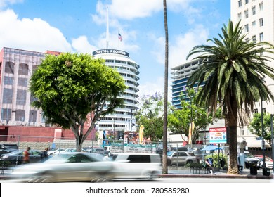 Los Angeles, California / USA - June 21 2017: Hollywood Boulevard, intersection and road, Los Angeles, California, USA. Tourist traffic on Boulevard Hollywood.