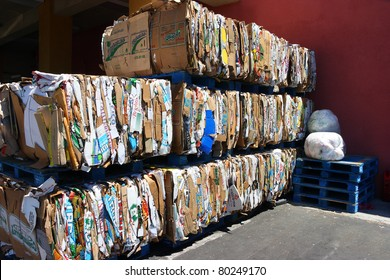 LOS ANGELES, CALIFORNIA, USA - JUNE 7 : Recycling center on Vanowen Street in Los Angeles collects 5000 cartoon boxes  on June 7, 2011. Recycling is a key component of modern waste reduction.