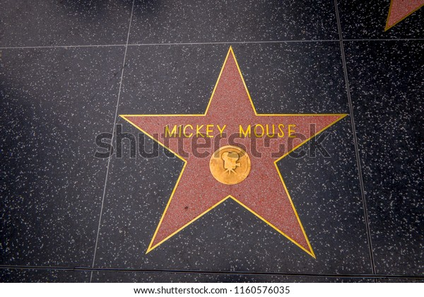 Los Angeles, California, USA, JUNE, 15, 2018: Mickey Mouse's star on Hollywood Walk of Fame in Hollywood, California. This star is located on Hollywood Blvd, and is one of 2400 celebrity stars