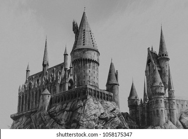 Los Angeles, California, USA -March 28, 2018: Hogwarts Castle, The Wizard World of Harry Potter (black and white, grainy, old look) in Universal Studios Hollywood at Los Angeles, CA