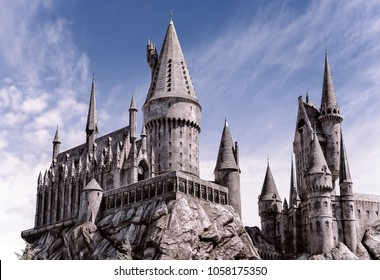 Los Angeles, California, USA -March 28, 2018: Hogwarts Castle, The Wizard World of Harry Potter in Universal Studios Hollywood at Los Angeles, CA