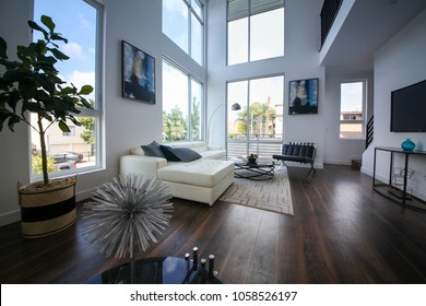 Los Angeles, California USA. March 28, 2018. New construction modern home interior with model furniture and interior design setting before going into the real estate market