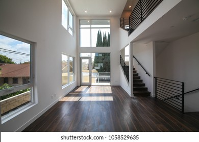 Los Angeles, California USA. March 28, 2018. New construction empty modern home interior with no furniture  setting before going into the real estate market